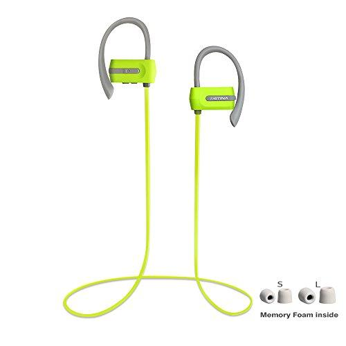 Tritina Sports Headphone in Ear – Sweatproof Bluetooth Earphones w/Mic – Premium Comfortable Memory Form Earbuds – HD Stereo Noise Cancelling for Gym Fitness Running Workout – Green