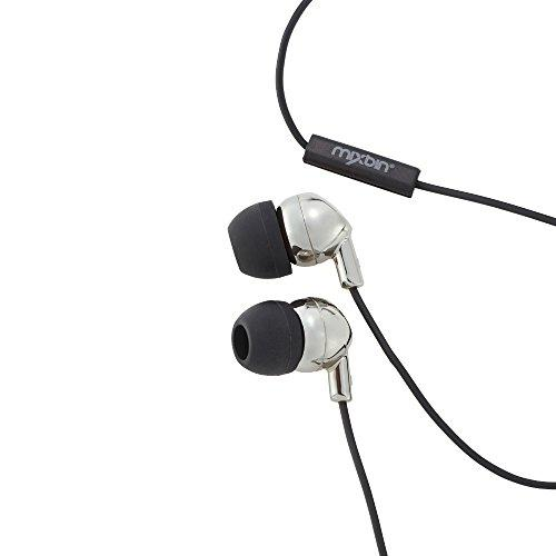 MixBin Battery, Stylish Electro-Dipped Metallic in-Earbuds with Microphone Silver