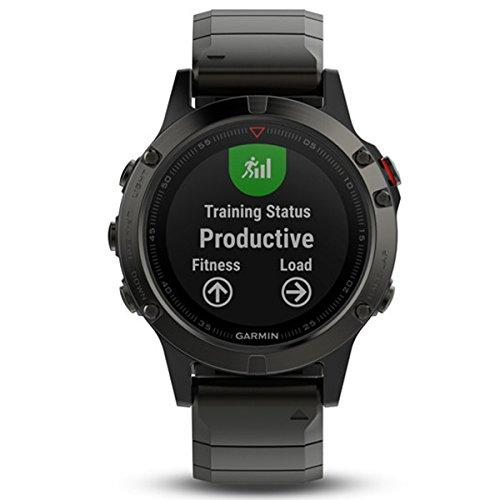 Garmin fenix 5 Sapphire, Multisport GPS Watch for Fitness, Adventure and Style, Health Monitoring, Sensors, Training Planning and Analysis Features, 2 Week Battery Life in Smartwatch Mode, Slate Gray with Metal Band (010-01688-21)