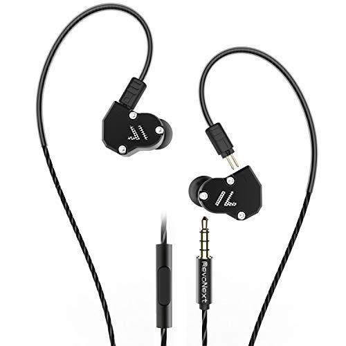 RevoNext QT2 in Ear Monitor, Triple Driver Headphones 2DD+1BA Balanced Armature with Dynamic Metal Shell Noise-Isolating Deep Bass HiFi Earbuds with Detachable (Black-Mic)