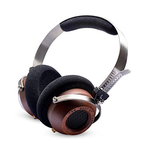 OKCSC M1 On Ear Big Headphone Open Voice Super Bass Wooden Headphone Noise Cancelling Vintage Style Earphone Over Ear Headset with Free Storage Bag