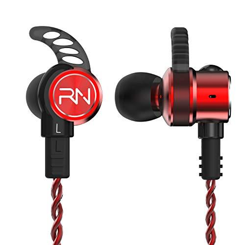 RevoNext RX6 in-Ear Headphones, Dual Driver Noise Isolating Earbuds Balanced Armature with Dynamic Wired in Ear Earbuds HiFi Deep Bass Headphones with 2 Pins Detachable Audio Cable (Red)
