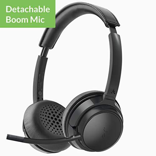 Avantree AH6B Wireless Headset with Microphone for Computer PC, Cellphone, Bluetooth On Ear Headphones for HiFi Music, Skype VOIP, for Office Professionals Phone Calls