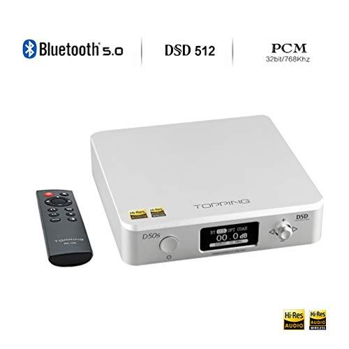 Topping D50s HiFi DAC 32Bit/768Khz DSD512 Bluetooth 5.0 Stereo Audio Decoder with Remote Control(Silver)