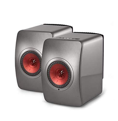 KEF Wireless Audiophile Speakers with WiFi and Bluetooth(SP3994KX) (LS50 Wireless Titanium Grey/Red (Pair))