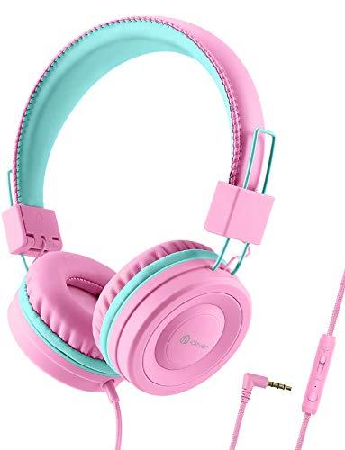 iClever Kids Headphones for Girls – Wired Headphones for Kids with MIC, Volume Control Adjustable Headband, Foldable – Childrens Headphones on Ear for iPad Tablet Kindle Airplane School, Pink