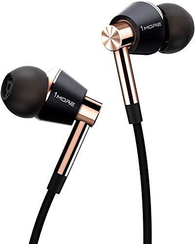 1MORE Triple Driver in-Ear Headphones, Hi-Res Earphones with MEMS Mic, Bass Driven Sound, in-Line Remote, High Fidelity for Smartphones/PC/Tablet – Gold