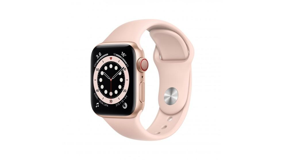 Apple Watch Series 6 44mm Gold Aluminium Case with Pink Sports Band – GPS + Cellular