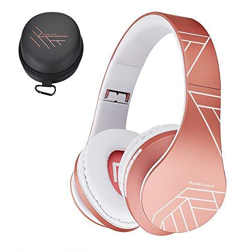PowerLocus Bluetooth Over-Ear Headphones, Wireless Stereo Foldable Headphones Wireless and Wired Headsets with Built-in Mic, Micro SD/TF, FM for iPhone/Samsung/iPad/PC (Rose Gold)