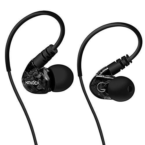 KINVOCA Sweatproof Sports Workout Earphones for Running Gym Exercise Jogging Wired Earhook Headphones with Volume Remote and Microphone Bass Noise Isolating Over Ear in Ear Sport Earbuds for iPod iPhone Samsung HTC (Black)