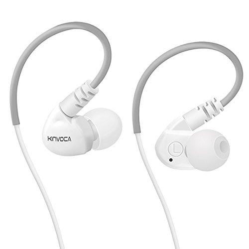 KINVOCA Sweatproof Sports Workout Earphones for Running Gym Exercise Jogging Wired Earhook Headphones with Volume Remote and Microphone Bass Noise Isolating Over Ear in Ear Sport Earbuds for iPod iPhone Samsung HTC (White)