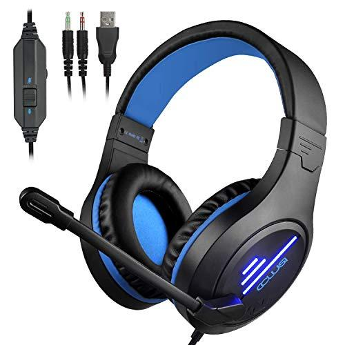 CLS-100 Gaming Headset (3.5mm Surround Sound, Locate Enemy's Positions by Voice) Mic Cancel Over-Ear Gaming Headphones with LED Light for PS4, PC, Xbox One, Nintendo Switch (Black&Blue)
