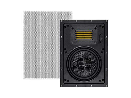 Monoprice 2-Way Carbon Fiber in-Wall Speakers – 6.5 Inch (Pair) with Magnetic Grille and Ribbon Tweeter – Amber Series