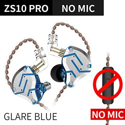 KZ ZS10 Pro in Ear Earphone Wired 0.75mm 4BA+1DD Hybrid 2pin Connector Detachable Cable HiFi Headset Sports Headphones(Glare Blue No mic)