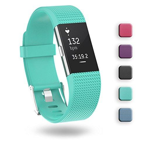 Fitbit Charge 2 Band,ZriEy TPU Replacement Wristband Adjustable Band Strap for Fitbit Charge 2 Fitness Watch,Man Woman,No Tracker(Small,Teal)