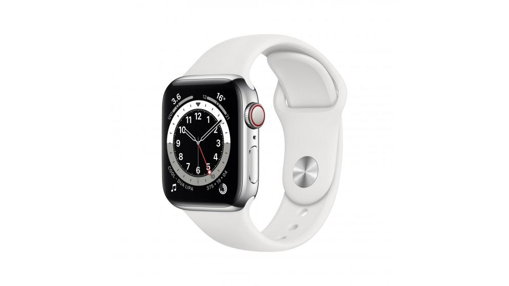 Apple Watch Series 6 40mm Silver Stainless Steel Case with White Sports Band – GPS + Cellular