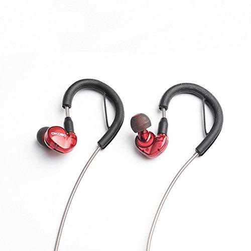 OKCSC DD4 Wireless Bluetooth 5.0 Earbuds with Microphone HiFi Hibrid Dynamic 1BA+1DD Headphones Stereo Sound Bluetooth Earphones with Earhook & MMCX Detachable Cable (Red)