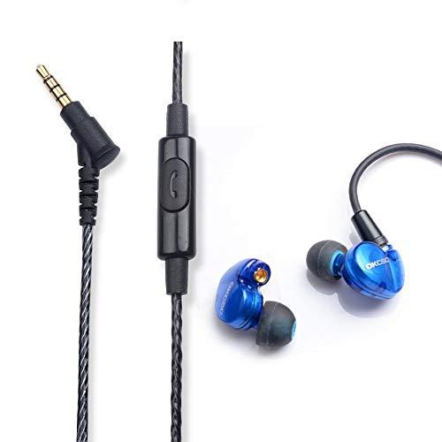 OKCSC DD3 HiFi Hybrid Dynamic Earphones 1BA+1DD Canal Balanced Armature Earbuds Sport Noise Cancelling Headphone with Detachable MMCX Cable Headset with Microphone for Smartphone Computer Laptop MP4 (Blue)