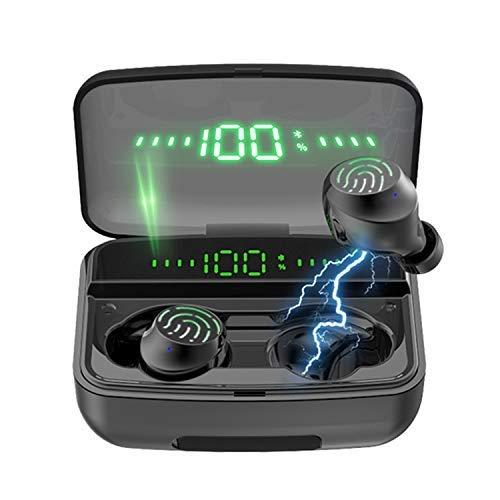 Earbuds with 1200mAH powerbank IPX8 waterproof HD Stereo Noise cancelling wireless/bluetooth earphones with touch control and built-in mic for hands-free calling. Perfect for listening to music, gaming,watching movies, running and so on. (Available o