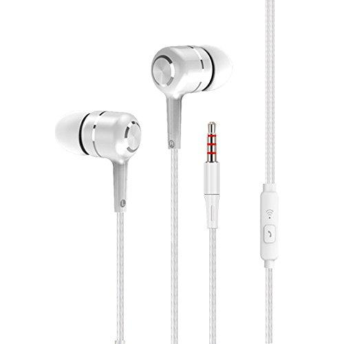 Earbud Headphones, EKIND in-Ear Wired Sports Stereo Bass Earphones with Microphone(White)