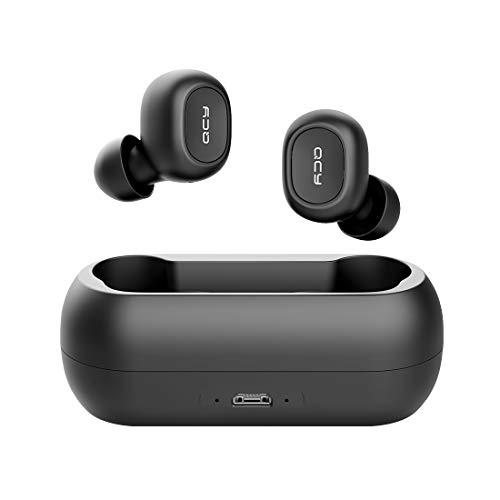 QCY T1 Wireless Bluetooth Earbuds, in-Ear Stereo Bluetooth Headphones, Wireless Charging Case, Noise Cancelling Built-in Mic, Deep Bass Binaural Calls Auto Pairing