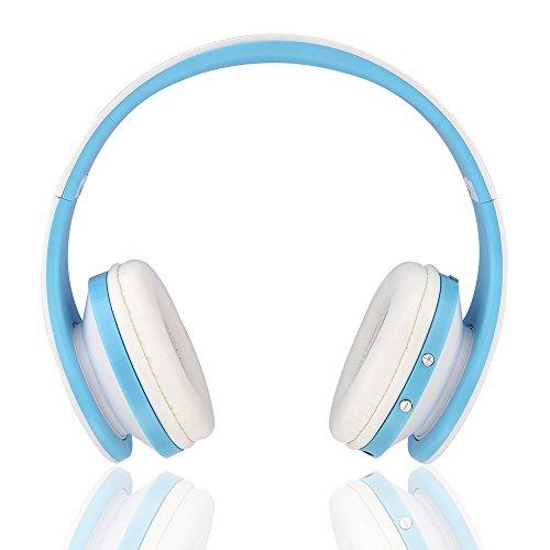 Wireless Bluetooth On-Ear Stereo Foldable Headphones Wired Headsets Noise Cancelling with Built-in Microphone Auriculares Headset Sports Earphones Foldable for Smart Phone Computer (Blue)