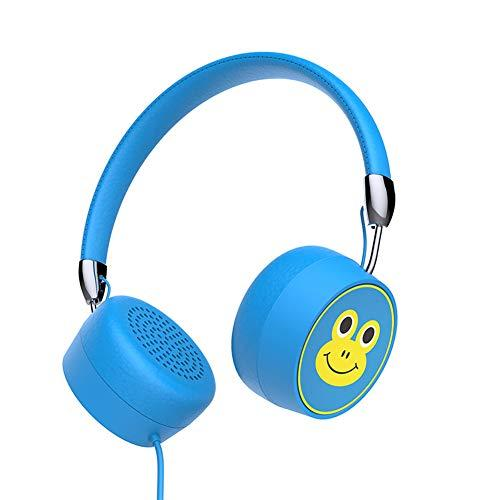 DanYee Kids Headphones Wired Headphone for Kids Foldable Adjustable Stereo Tangle-Free,3.5MM Jack Wire Cord On-Ear Headphone for Children 85db Safety on-Ear Headphone for School/PC/Cellphone/Airplane (Blue)