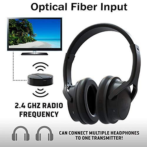 Rechargeable Wireless TV Headphones- RF Connection Headset, 2.4 GHz Transmits Wirelessly, No Bluetooth Required, AUX, RCA, Optical Cable Included – for Watching TV Doesn't Affect Family Member's