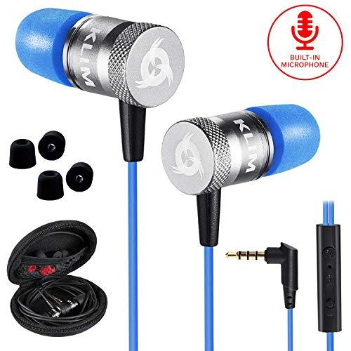 KLIM Fusion Earbuds with Mic Audio – Long-Lasting Wired Ear Buds + 5 Years Warranty – Innovative: in-Ear with Memory Foam Earphones with Microphone – 3.5mm Jack – New Earphone 2019 Version (Blue)