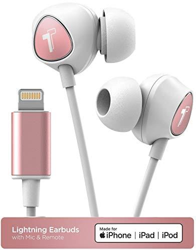 Thore Wired in Ear Headphones for iPhone Xr, iPhone Xs Max Earphones with Mic (White/Rose Gold) Lightning MFI Certified by Apple Earbuds (Remote Microphone, Volume Control) (V100 Retail Packaging)