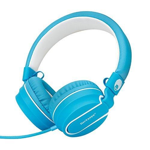 Rockpapa 952 Stereo Foldable Headphones On Ear with Microphone, Adjustable Headband for MP3/4 CD DVD in Car/Airplane Tablets Cellphone Laptop White Blue