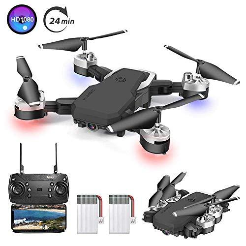 OBEST Drone with Camera, 1080P HD Drone for Kids & Adults & Beginners, Foldable WiFi RC Quadcopter Drone, 24 Min Long Flight Time, Live Video, Headless Mode, One Key Return with 2 Batteries