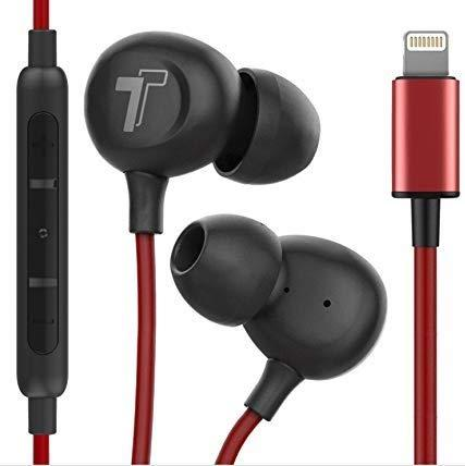 Thore iPhone Earphones (V60) Wired in Ear Lightning Earbuds (Apple MFi Certified) Headphones with Microphone Remote for iPhone 11/Pro Max/Xr/Xs Max/X/8/7, Red (Retail Packaging)