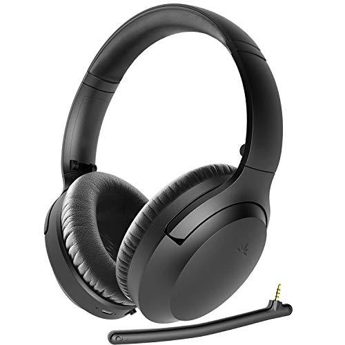 Avantree Aria Bluetooth Active Noise Cancelling Headphones with Boom Mic for PC Computer Phone Call, Good Sound, Replaceable Spacious Ear Pads, 35H, Wireless & Wired ANC Over Ear Home Office Headset