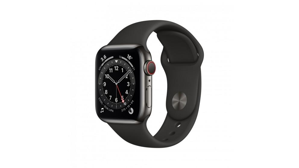 Apple Watch Series 6 44mm Graphite Stainless Steel Case with Black Sports Band – GPS + Cellular