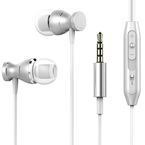 EKIND Metal Housing Magnetic Stereo in-Ear Headphones with Microphone and Volume Control (Silver)
