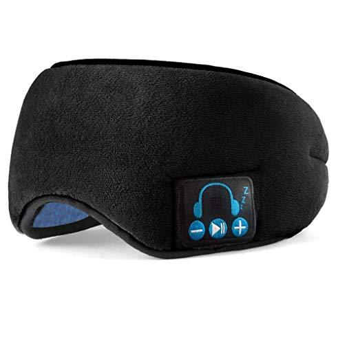 APROTII Sleep Headphones, 2020 Upgraded Sleep Eye Mask Bluetooth 5.0, Wireless Sleep Headphones, Designed with Ultra Thin Speakers MIC, Super Soft, Washable, Hands-Free Calling, Travel Helper, Gift Idea (Black)