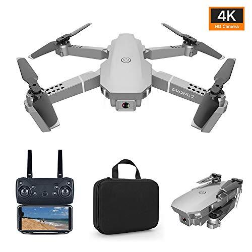 Foldable Drone with 4K Camera 2.4G WiFi FPV RC Quadcopter (Silver) Gesture Control with Portable Carry Bag, 3 Batteries