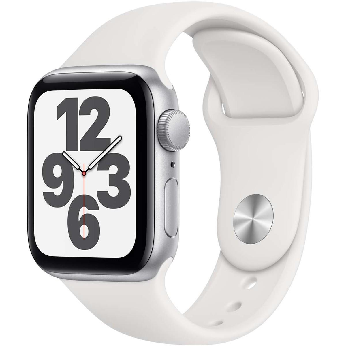 Apple Watch SE GPS 40mm Silver Aluminium Case with White Sport Band – Regular
