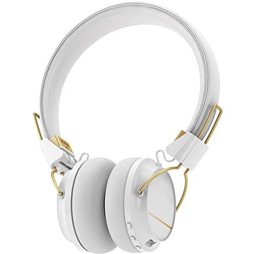 Sudio Sweden Regent Series Over-The-Ear White Bluetooth Headphones With Gold Style Trim and 24 Hour Playtime