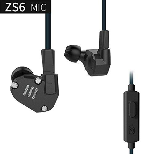 KZ ZS6 in Ear Headphones Wired Earphones Yinyoo High Fidelity 2 Dynamic with 2 Balance Armature in Ear Earbuds with 2 pin Replacement Cable Hybrid Earphones with Mic(Black with Mic)