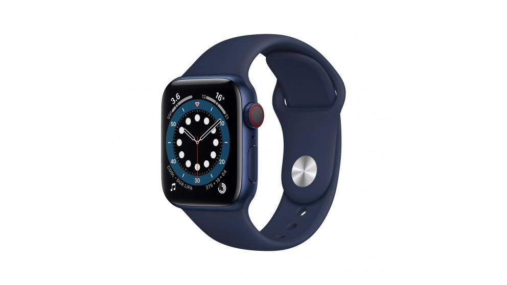 Apple Watch Series 6 40mm Blue Aluminium Case with Navy Sports Band – GPS + Cellular