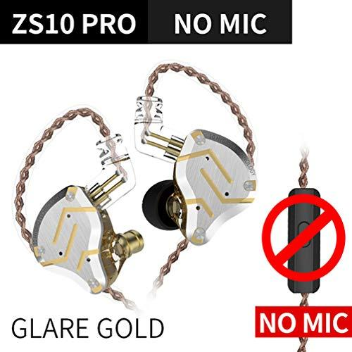 KZ ZS10 Pro in Ear Earphone Wired 0.75mm 4BA+1DD Hybrid 2pin Connector Detachable Cable HiFi Headset Sports Headphones(Glare Gold,No mic)