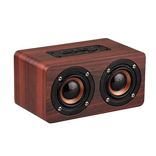 SESO Retro Wooden Bluetooth Speaker HiFi Wireless Dual Loudspeakers USB Charging (Mahogany)