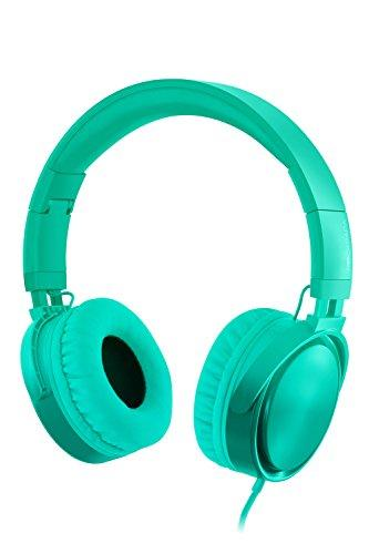 Rockpapa Grade Over Ear Headphones Foldable with Mic, Adjustable Headband Headsets for CellPhones Tablets Computers PC MP3/4 CD DVD in Car/Airplant Gradient Teal