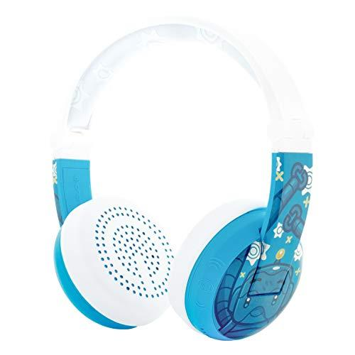 ONANOFF BuddyPhones Wave, Waterproof Wireless Bluetooth Volume-Limiting Kids Headphones, 20-Hour Battery Life, 4 Volume Settings of 75, 85, 94db and StudyMode, Includes Backup Cable for Sharing, Blue