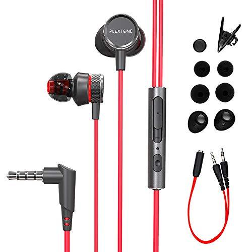OKCSC G15 Game Headphones Gaming Earphones with Microphones Wired in Ear Computer Earbuds Noise Cancelling Stereo Sound 10mm High Fidelity Speaker for Laptop, PS4, Xbox, PC,Android -Red
