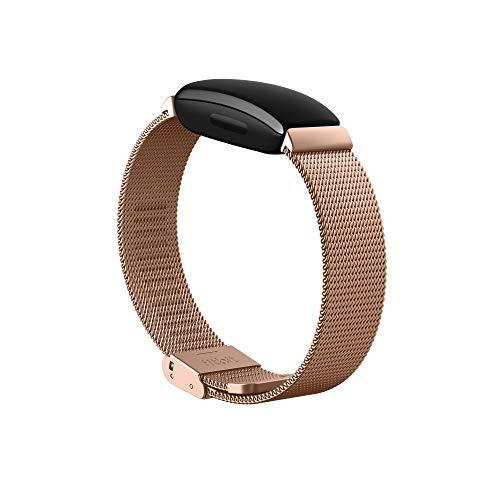 Fitbit Inspire 2 Fitness Tracker Stainless Steel Mesh Band, Rose Gold, One size fits all
