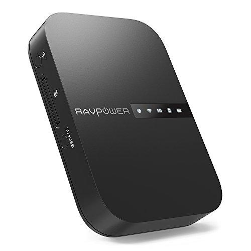 RAVPower FileHub, Travel Router AC750, Wireless SD Card Reader, Connect Portable SSD Hard Drive to iPhone iPad Tablet Smart Phone Laptop for Photo Backup, Data Transfer, Portable NAS, 6700mAh Battery