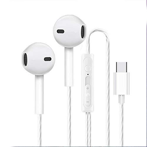 EKIND Type-C Earbud Headphones, Brand in-Ear Wired Stereo Bass Sports Earphones with Microphone (White)